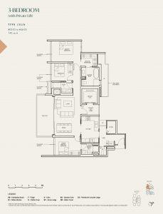 The-Avenir-condo-Floor-Plan-3-bedroom-private-lift-type-(3L)b-singapore